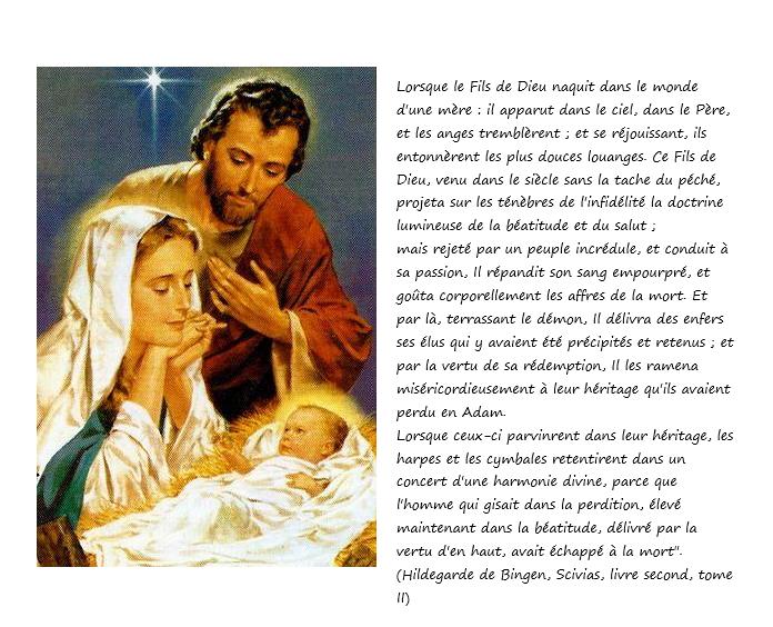 Carte de Noel avec texte d'Hildegarde de Bingen